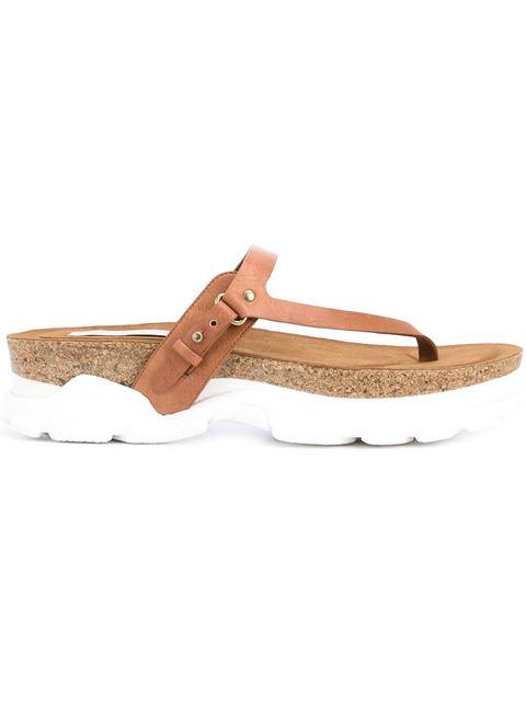 Stella Mccartney Altea Faux-Leather Thong Sandal, Canyon In Tan