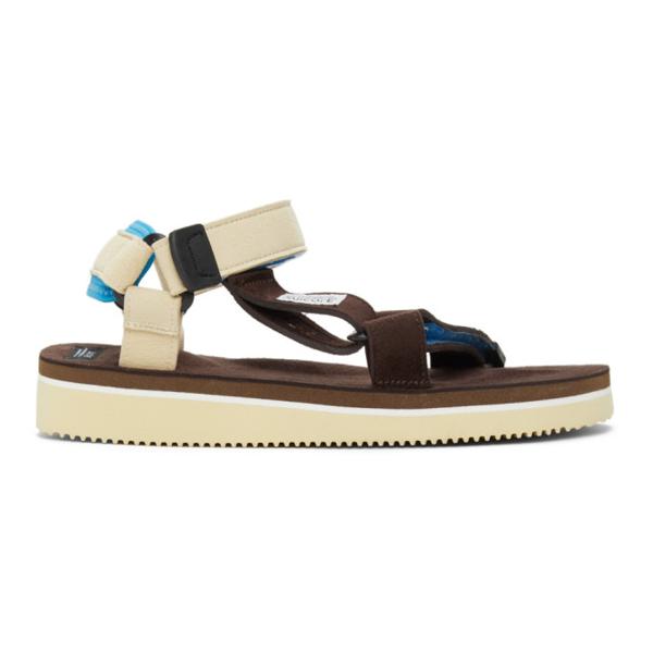Suicoke Brown & Off-white Depa-ecs Sandals In Brown/cream