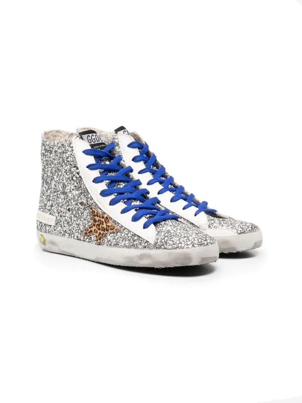 Golden Goose Kids' Little Girl's & Girl's Francy Glitter Leopard Horsy Star Sneakers In Silver