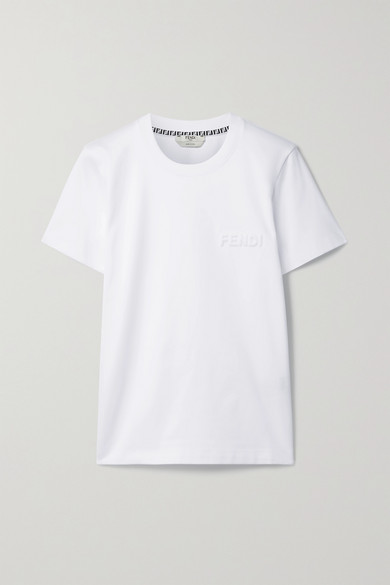 Fendi Embossed Cotton-jersey T-shirt In White