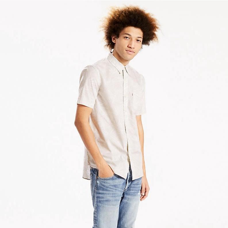 cb9ca44fd Levi's Short Sleeve Sunset One Pocket Shirt - Mandola Marshmallow Palm Print
