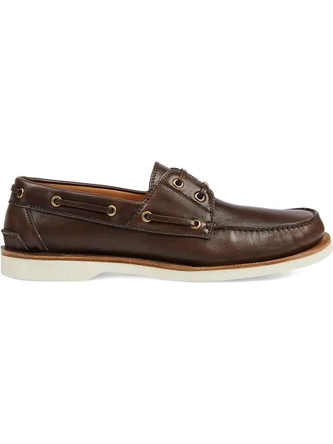 Gucci Leather Loafer With Web In 2180 Marrone