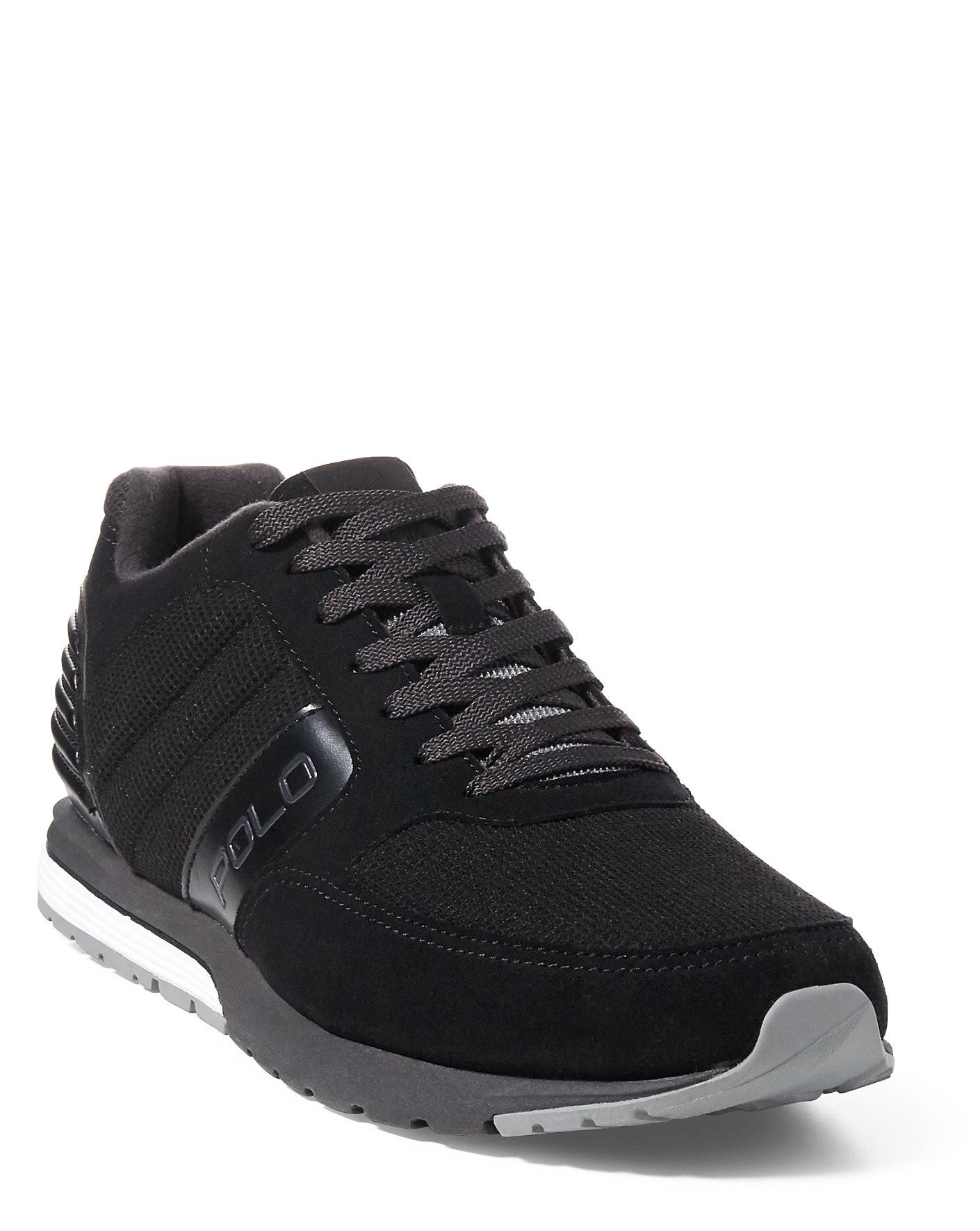 Ralph Lauren Polo  Laxman Tech Suede Sneaker In Black