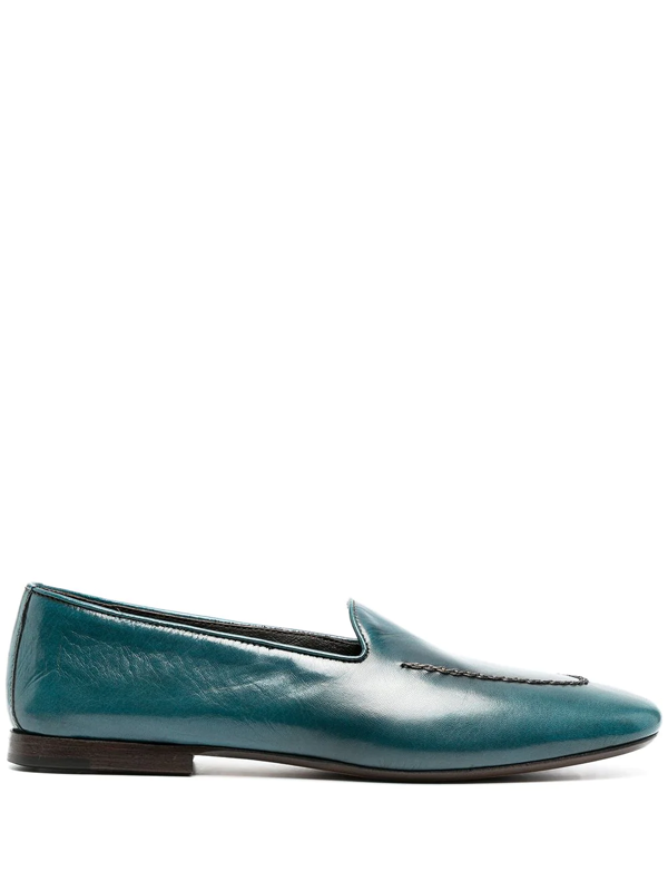 Henderson Baracco Embroidered Leather Loafers In Blue
