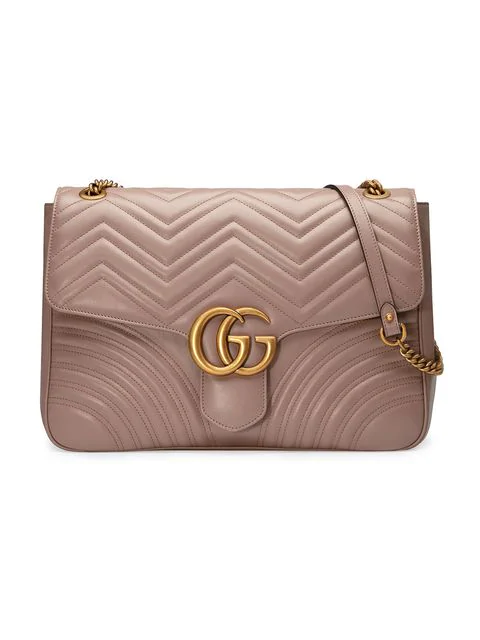 Gucci Gg Marmont Large Chevron Quilted Leather Shoulder Bag In Beige