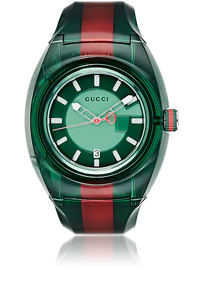 Gucci Watch Sync Watch Web Case In Transparent Pvc In Green