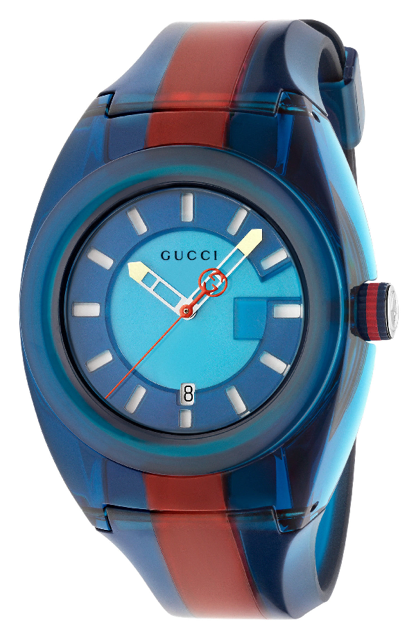 Gucci Watch Sync Watch Web Case In Transparent Pvc In Blue