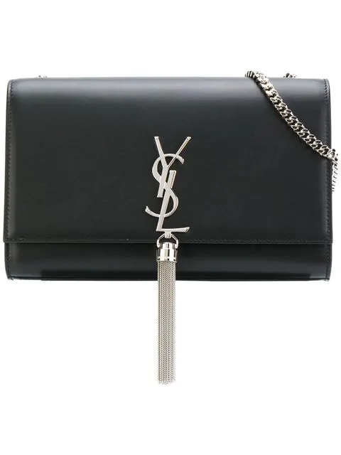 97e61ee83b8 Saint Laurent Black Small Monogram Kate Tassel Satchel | ModeSens