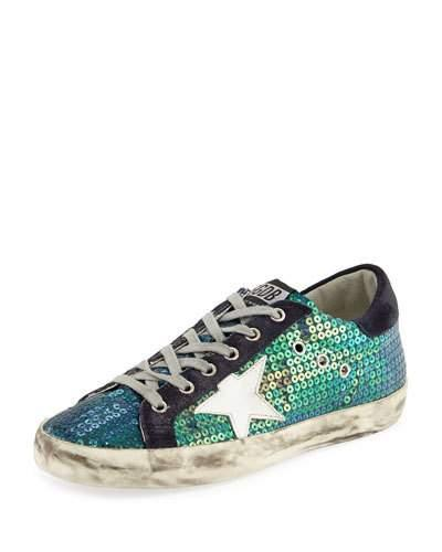 Golden Goose Super Star Distressed Sequined Canvas And Suede Sneakers In Blue