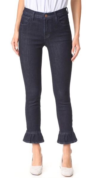 J Brand 'maude' Ruffle Cuff High Rise Raw Jeans In Flourish