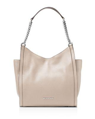 Michael Michael Kors Newbury Chain Medium Leather Shoulder Tote In Cement Gray/silver
