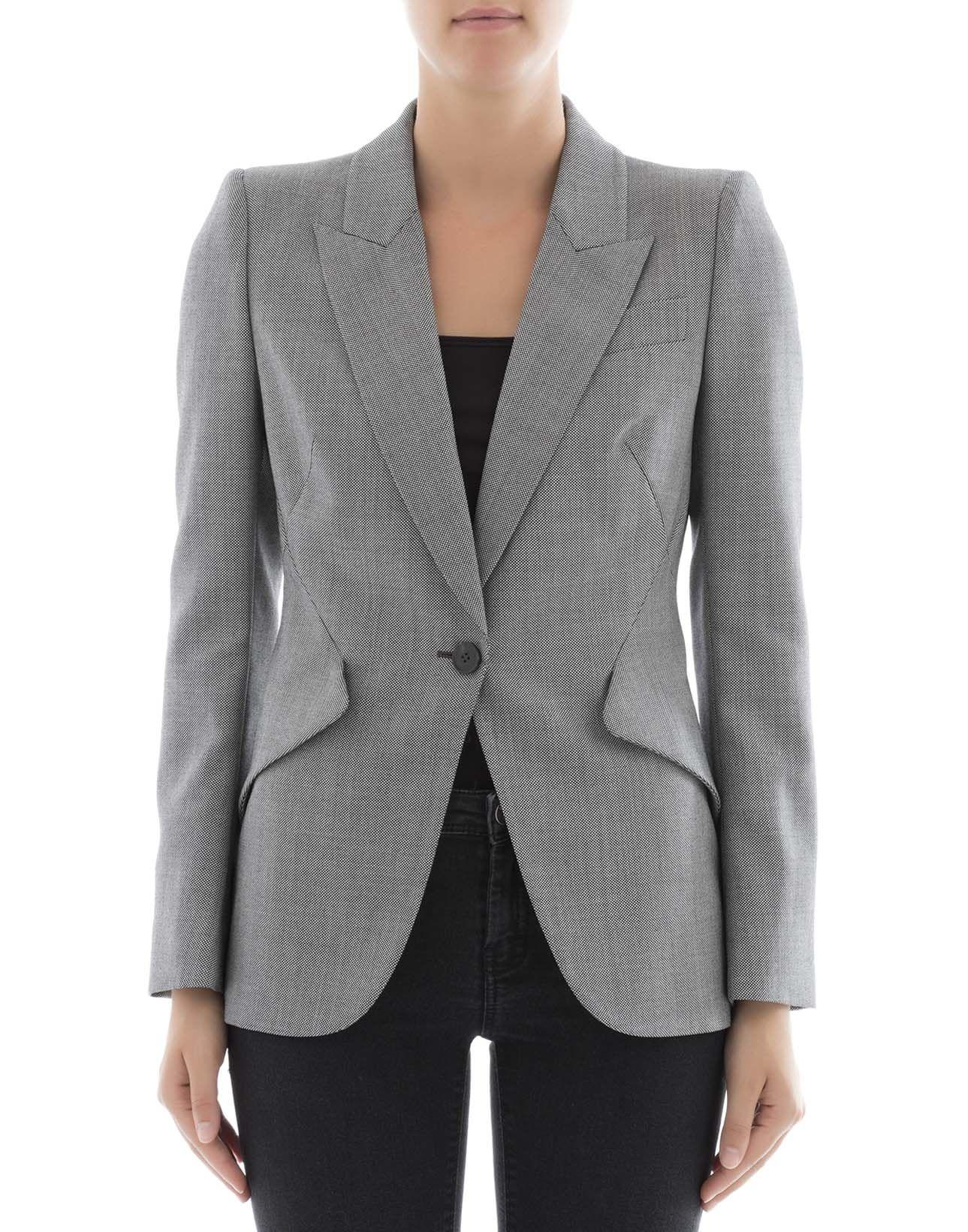 Alexander Mcqueen Grey Wool Jacket
