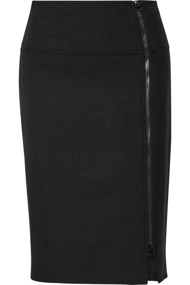 Tom Ford Wool-blend Twill Pencil Skirt In Black|nero