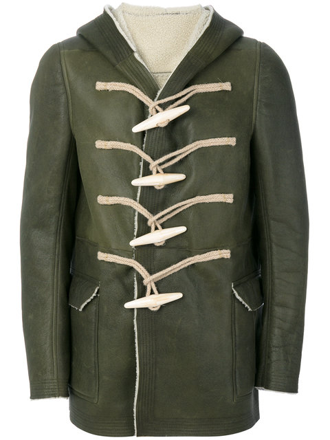 Rick Owens Toggle Hooded Coat In Green