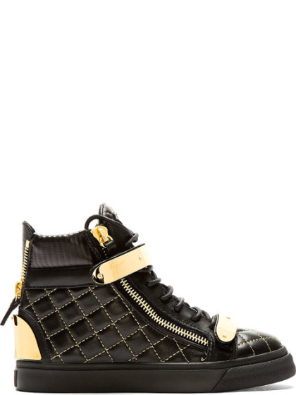 Giuseppe Zanotti Black Leather Quilted London Donna Sneakers