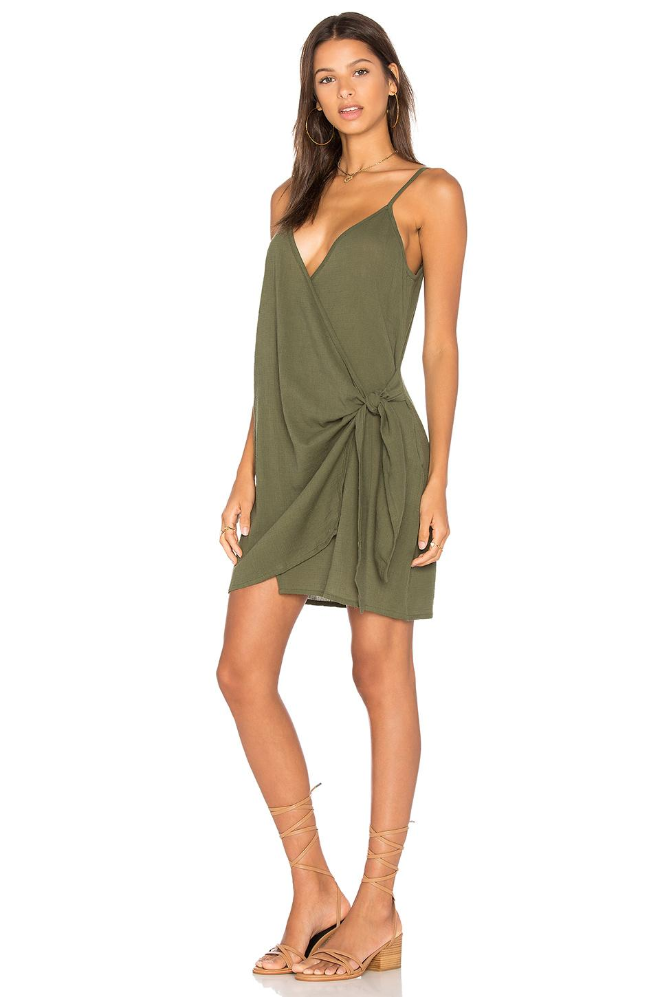 Faithfull The Brand Kara Wrap Dress In Plain Khaki In Green