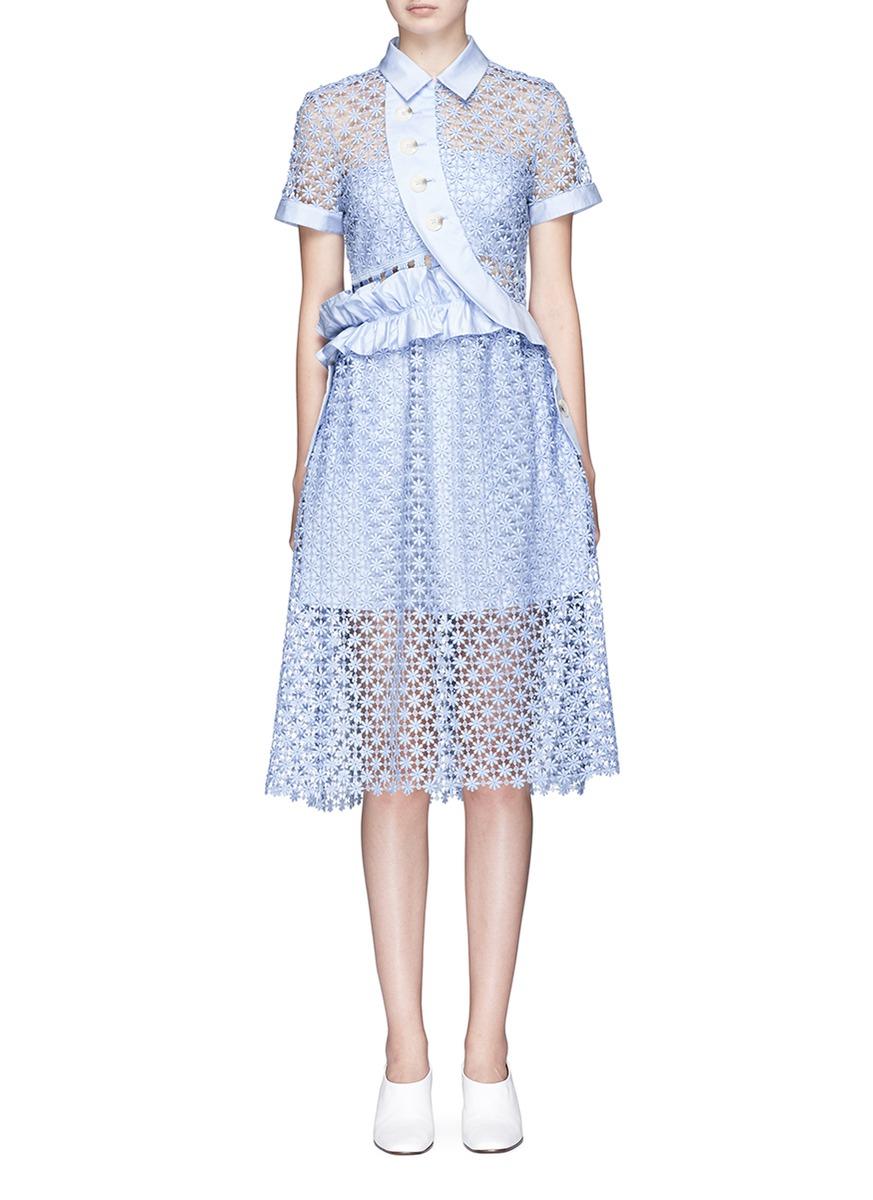 Self-portrait Baby Blue Daisy Button Midi Dress