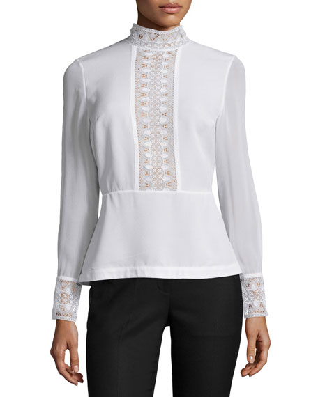 Yigal AzrouËl Long-sleeve Lace-inset Peplum Top, Optic White In Jet Black