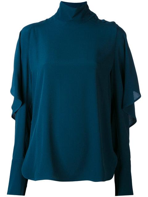 Marni Draped Juliet Sleeve Blouse In Blue