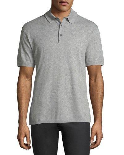 Ermenegildo Zegna Cotton Pique Polo Shirt, Light Gray