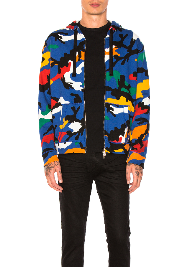 Valentino Camu Fleece Zip-front Hoodie In Blue,abstract