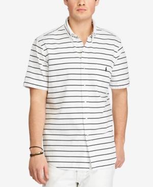 Polo Ralph Lauren Men's Big & Tall Striped Short-sleeve Shirt In White/black
