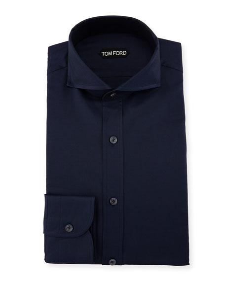 Tom Ford Double-twist Yarn-dye Twill Dress Shirt In Blue