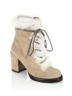 Stuart Weitzman Women's Yukon Suede & Mink Fur Lace Up Block Heel Booties In Beige