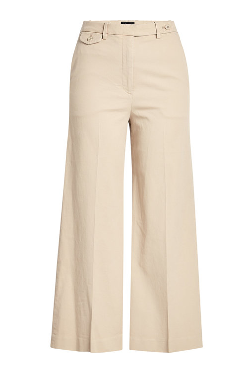 Theory Cropped Cotton Pants In Beige