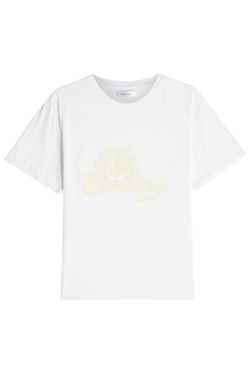 Anine Bing Printed Cotton T-shirt In White