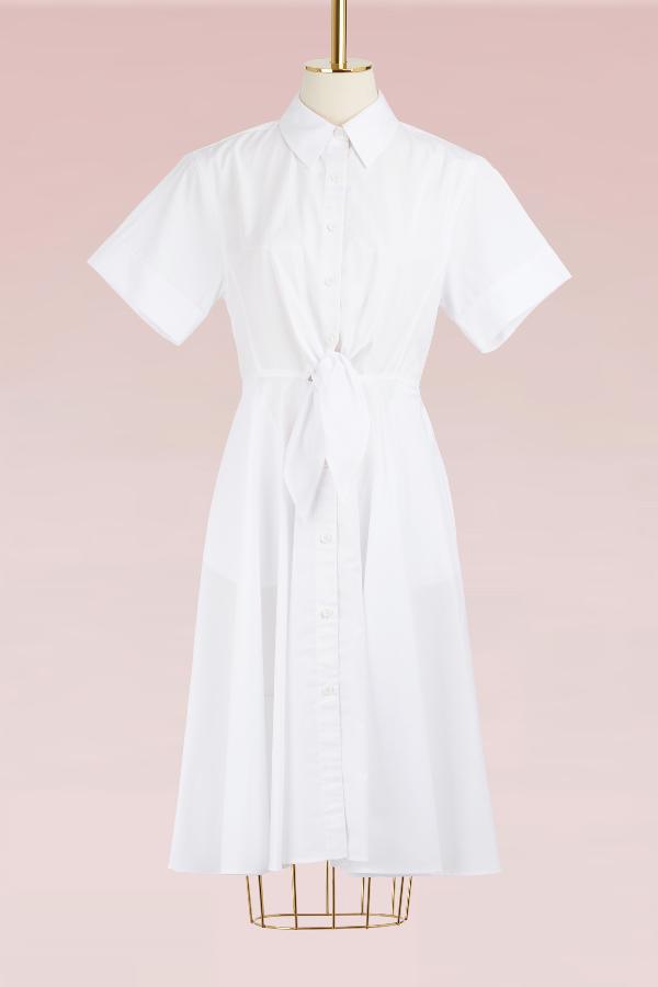 Diane Von Furstenberg Cotton Shirt Dress In White