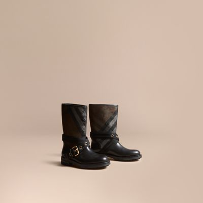 Burberry Leather, Mesh And House Check Boots In Llack