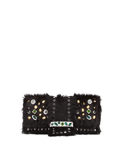 Prada Bejeweled Cavallino & City Calf Shoulder Bag In Black