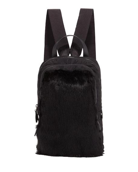 Prada Tessuto New Fur Backpack In Black