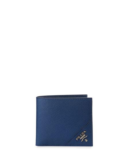 Prada Saffiano Corner Logo Wallet In Blue