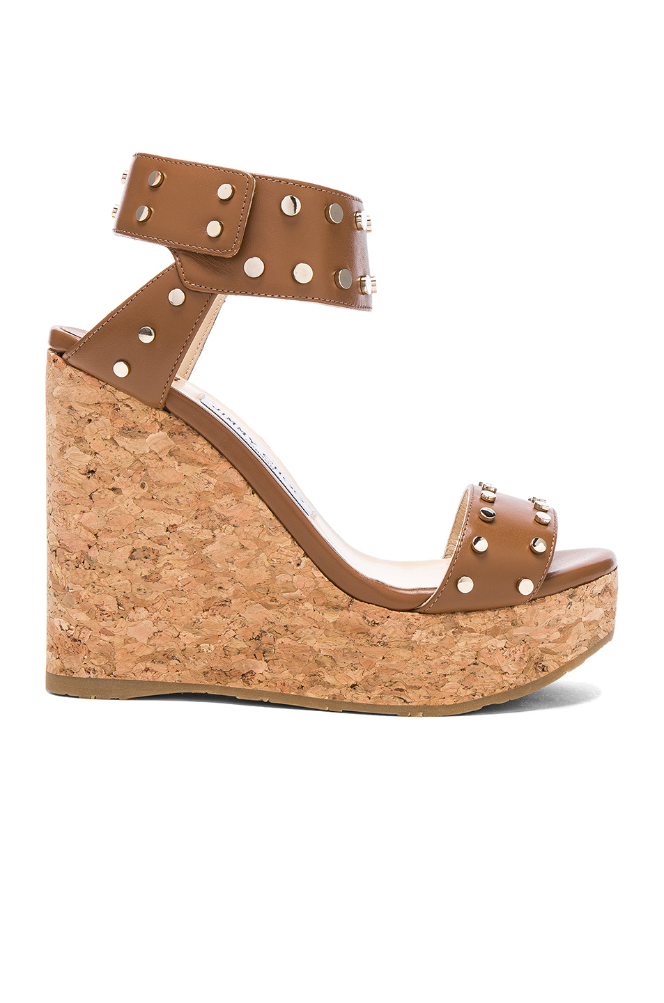 Jimmy Choo Shiny Leather Nelly Wedges With Studs In Neutrals