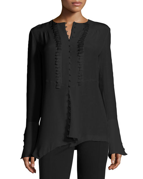 Derek Lam Tassel-trim French-cuff Silk Blouse, Black