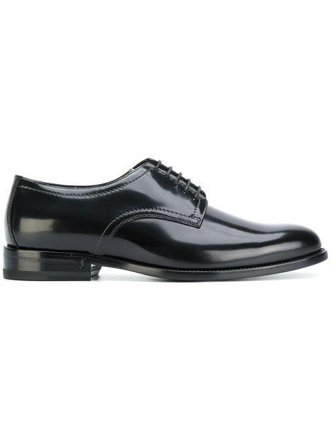 Saint Laurent Lace-up Leather Derby Shoes In Black