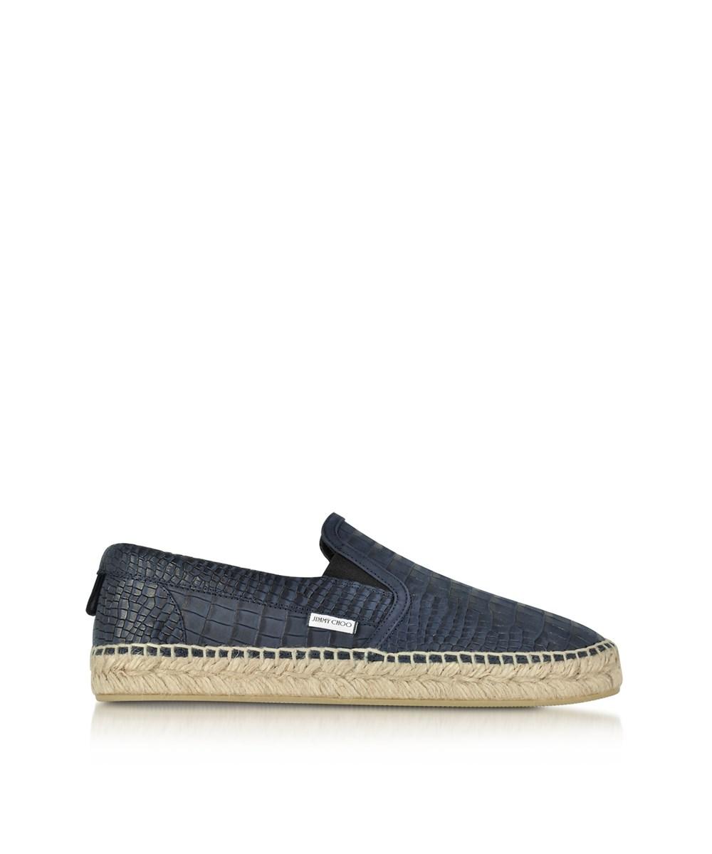 Jimmy Choo Men's  Blue Leather Slip On Sneakers