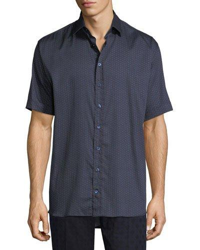 Etro Circle-print Cotton Short-sleeve Shirt In Navy