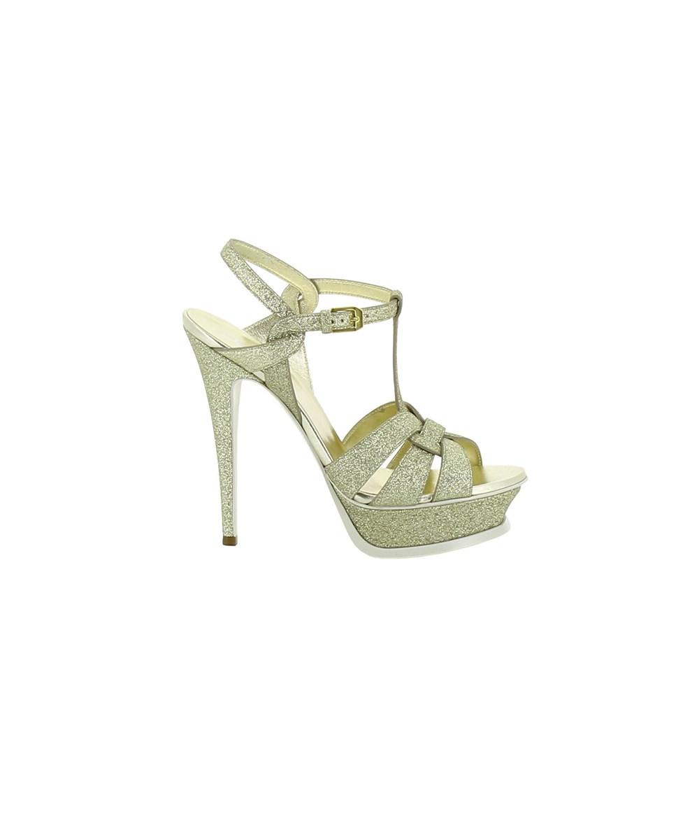 Saint Laurent Women's  Gold Glitter Sandals