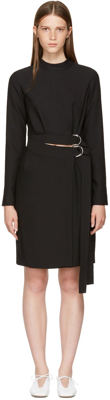 Carven Black Double Belted Dress