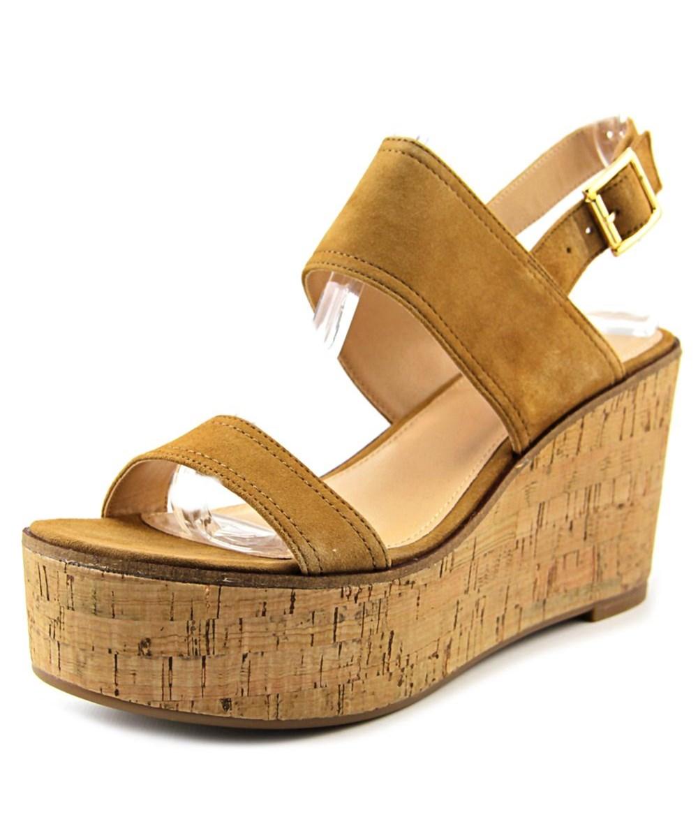 Steve Madden Caytln Women  Open Toe Suede  Wedge Sandal In Khaki
