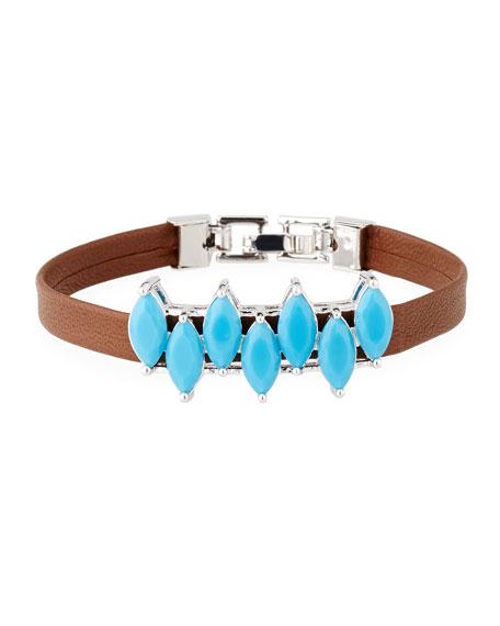 Fallon Monarch Mini Jagged Edge Cuff Bracelet In Turquoise