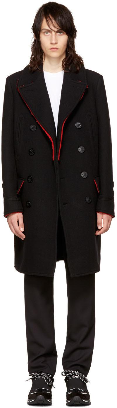 Givenchy Frayed Edges Black Wool Coat