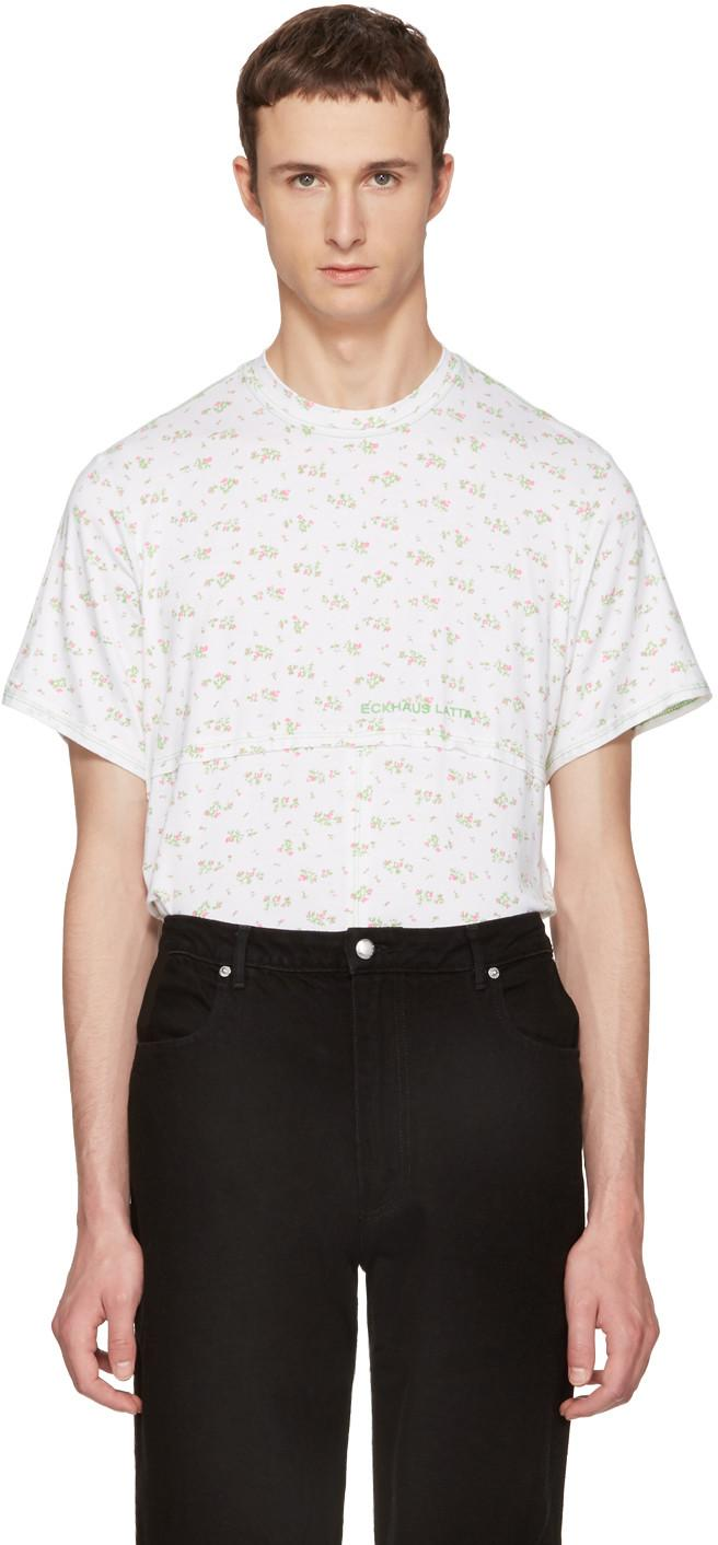 Eckhaus Latta Opening Ceremony Floral Lapped Tee In White