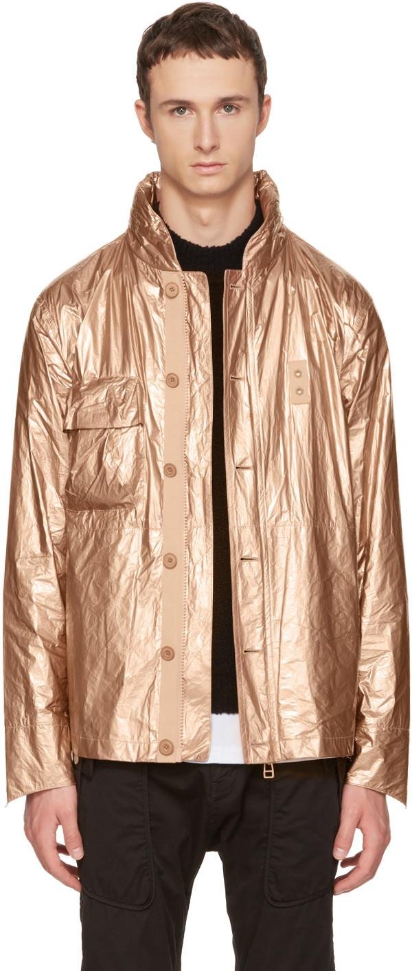Helmut Lang Lace-up Sides Metallic Jacket In Gold