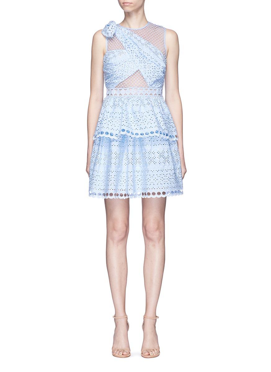 Self-portrait Shoulder Knot Embroidered Mini Dress In Blue