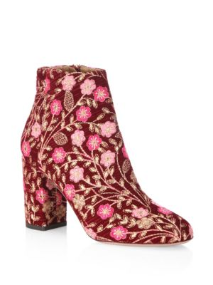Aquazzura Floral Embroidered Block Booties In Cranberry
