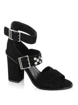 Rebecca Minkoff Jennifer Studded Ankle Cuff Sandal In Black